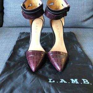L.A.M.B. Women's Wine Oxley Croc Embossed Heels